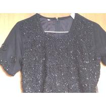 Conjunto Vestido Saree, En Gasa De Algodon Negro Bordado!!!