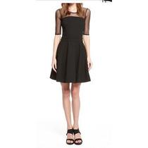 Vestido Negro Con Transparencia De Tul Importado