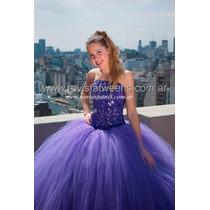 Vestido De 15 De Tul Violeta Nuevo A Medida - Novias Nanci -