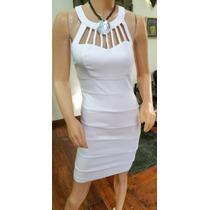 Vestido Fiesta Corto Blanco Gabardina Elastizada !!