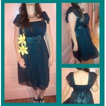 Vestido De Fiesta De Gasa Negro Talle Grande Xxxl !