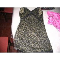 Vestido Minifalda Negro Verde Puntilla O Enagua Animal Print