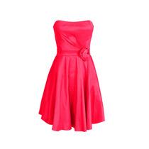 Vestido Corto De Fiesta Strapless Con Flor, Brishka, M-0005