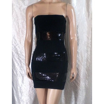 Strapless Mini Vestido Jersey De Seda Negro Y Lentejuelas