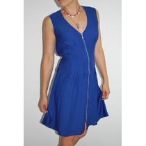 Vestido Azul Francia Con Cierre Al Frente