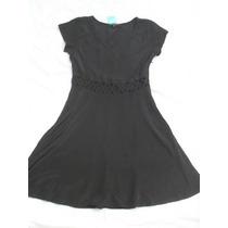 Vestido Negro Manga Corta Sedoso Nuevo Talle S