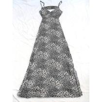 Vestido Largo Animal Print Espalda Descubierta Talle M