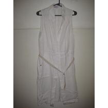 Vestido De Algodon Port Said Blanco Con Cinturon