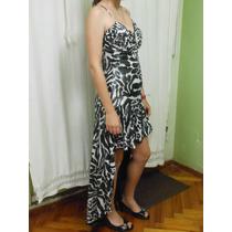Vestido De Fiesta Con Falda Irregular Y Breteles Talle 38-40