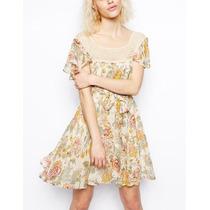 Vestido Flores Civil Importado Uk Tipo Rapsodia Crochet