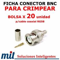 20uni Conector Bnc De Crimpear Macho Con Pinza Comun P/rg-58