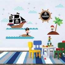 Kit De Vinilo Autoadhesivo Piratas Con Tu Nombre!