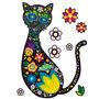 Vinilo Decorativo Adhesivo Gato Con Flores