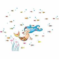 Vinilo Decorativo Infantil Sirena Peces Flores 110x81cm Nena