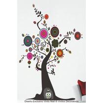 Arbol Con Mandalas Y Buhos, Vinilo Decorativo Pared, 180 Cm