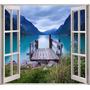 Vinilo Mural Ventana Simulación Montaña Lago Decoración