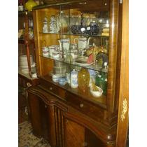 Sobria Gran Vitrina Art Deco Antigua Elegante Nogal (0397)