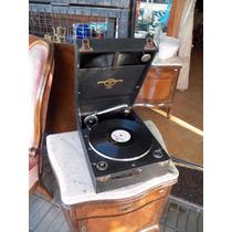 Antiguo Gramófono Vitrola Portátil Ingles - Funcionando