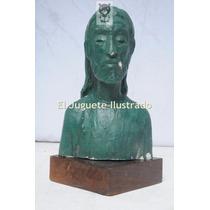Eduardo Barnes Escultura Jesus Busto Yeso 22x10 Arte Rosario