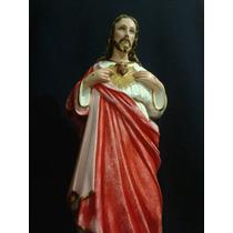 Sagrado Corazon De Jesus , Yeso, Imponente, 65 Cm