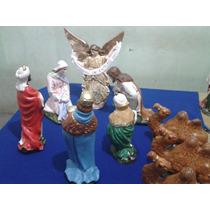 Pesebre 30 Cm De Yeso, 9 Piezas, Jose, Virgen, Reyes, Angel