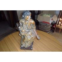Antigua¡ Estatua De Yeso Macizo De Madre Con Su Niño