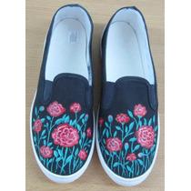 Zapatillas Panchas Pintadas Personalizadas Talle 38 Flores