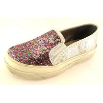 Zapatillas Panchas Chatas Brillo Glitter Nenas Plataformas