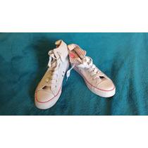 Zapatillas Muaa Blancas Botita Detalles Rosas Mujer
