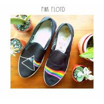 Panchas Zapatillas Alpargatas Pintadas A Mano Pink Floyd