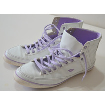 Zapatillas Botitas Gaelle Blancas Con Lila