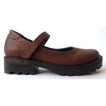 Zapatos Colegiales Marron O Negro Diez Indiecitos Cuero