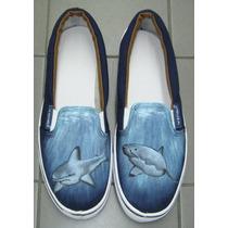 Zapatillas Panchas Personalizadas Pintadas Talle 43 Tiburon