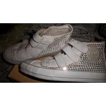 Zapatillas La Gear Cuero Y Lentejuelas Blanca