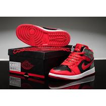Zapatillas Jordan Retro 1 Mid Negro Rojo Gris C/caja Stock!