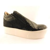 Zapatillas Plataforma Pancha Brillo Con Cierres Zapato Print