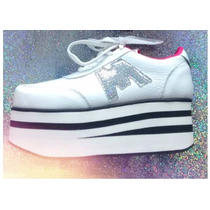 Zapatillas Con Plataforma Sneakers 100% Cuero! Stock Inmedia