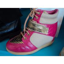 Zapatillas Con Taco Escondido Cuero