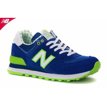 Zapatillas New Balance Mod 574 Azul F Verde Fluo Blanco