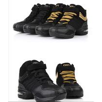 Zapatillas Tipo Botita De Danza Y Baile Color Negro
