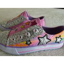 Zapatillas Con Brillos Y Bordados Simil Skechers