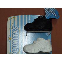 Zapatillas Escolar Colegial Plumitas Num. 20/26 Blc Y Neg