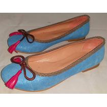 Chatitas Azul Intenso Con Brillitos Flecos Fuxia Talle 36 38