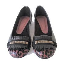 Clippate Zapatos Mujer Chatitas Cuero Flecos Tachas Zapatos