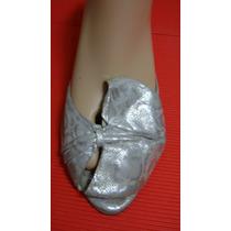 Clona Zapatos 39 Cuero Vacuno Plateado Reptil Moño (ana.mar