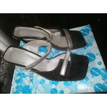 Sandalias Negros Y Plateados Poco Uso Talle 36 Para Fiesta