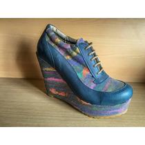 Zapatillas Acordonadas Cuero Plataforma Taco Chino Mujer