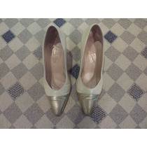 Zapatos Muy Finos Color Crema Con Puntera Dorada