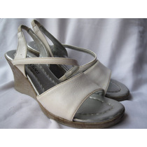 Sandalias Blancas Taco Chino N°37 Imitación Corcho