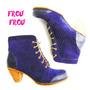 Botas Cuero Azul Gamuza Punteado - Taco 5,5cms - Frou Frou